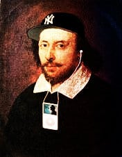 shakespeare with yankees ball cap and ipod
