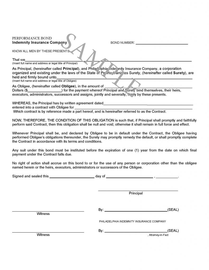 Sample Collections Bond Form